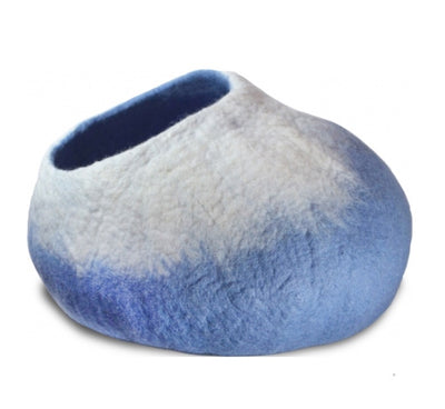 Blue Gradient Neck Felt Cat Cave-Cat Bed- Woolen Cat Bed
