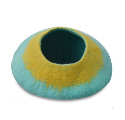 Aqua Gradient Neck Felt Cat Bed Cave