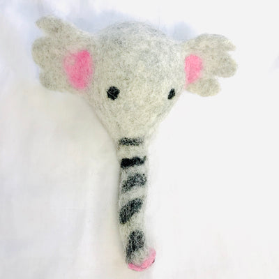 Four (4) pieces of Cute Baby Elephant 10% Woolen Handmade Felted Dog Toy in one Package