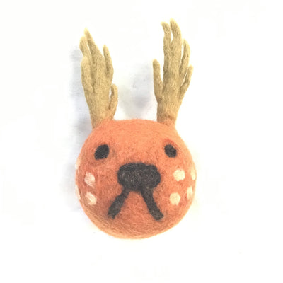 Four Set-Deer Head Felt Dog Toys