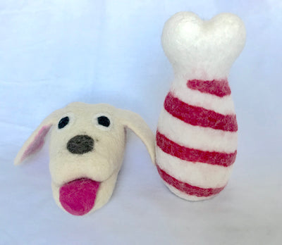 "6.5"" Dog Bone with 5.5"" Dog head Felt Dog Toy"