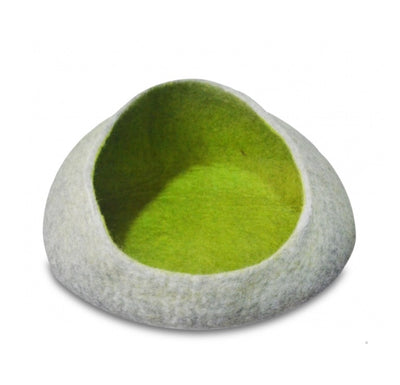 Open mouth natural green Felt Cat Cave