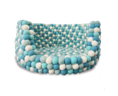 Cyan Felt Ball Dog Bed