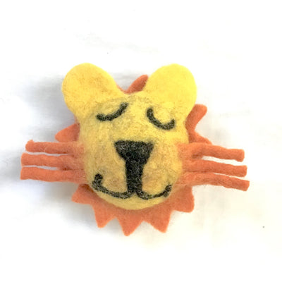 Four (4) Items of Lion Head Felt Dog Toys in Set