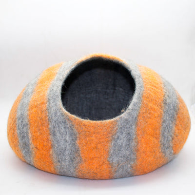 Orange Stripe Felt Cat Cave