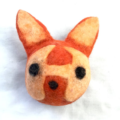 Wool Felted Red Fox Head Felt Dog Toy- Four (4) Pieces