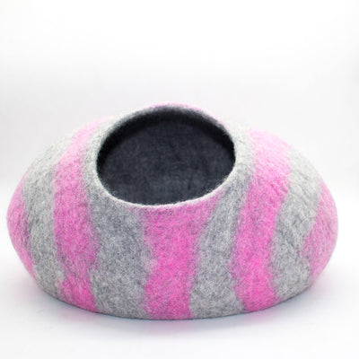 Pink Stripe Felt Cat Cave