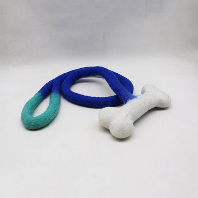 "4 Feet long Tuggies with 8"" bone, Handmade from Wool, Stuffing-Free, Dog Toy Rope Felt Dog Toy"