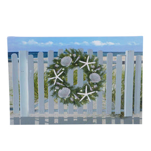 Wall Decor - LED Lighted Xmas Gate w/Wreath
