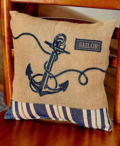 "Pillow - Burlap 14"" Anchor"