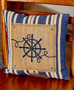 "Pillow - Burlap 14"" Ships Wheel"