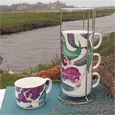 Mugs - Set of 4 w/Wire Rack Stackable Mug