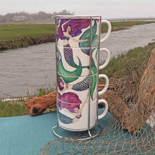 Load image into Gallery viewer, Mugs - Set of 4 w/Wire Rack Stackable Mug