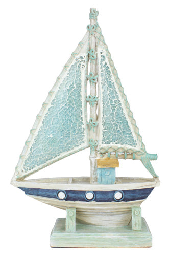 Figurine - Mosaic Crushed Sea Glass - Sailboat