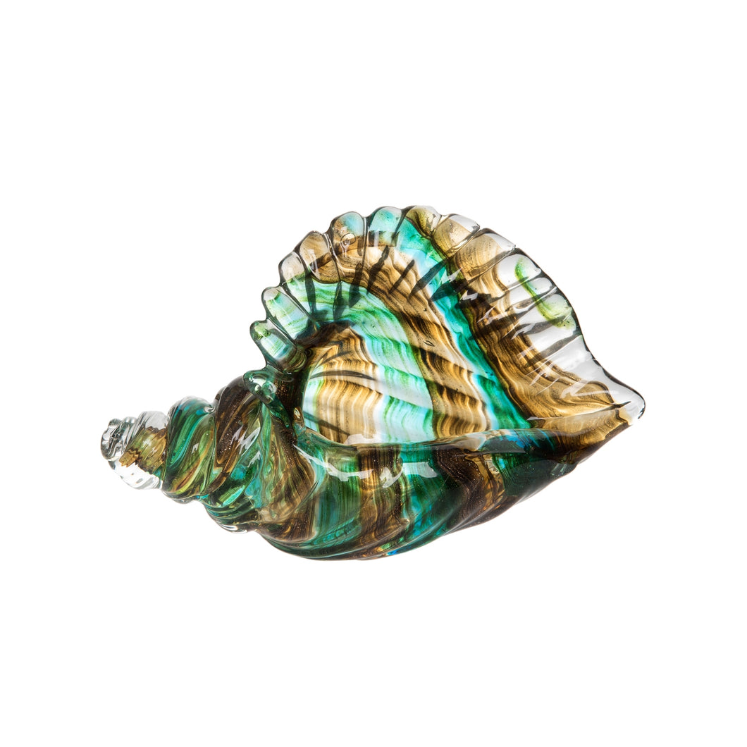 Glass Art - Shell Teal Gold Conch 7.5