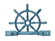 Key Holder Cast Iron Rustic Blue 8""