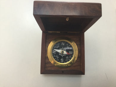 Compass Brass Black Desk Compass w/rosewood Box