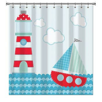 Shower Curtain - Lighthouse & Sail Boat