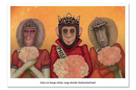 "Postcard ""There is always a winner, even in a monkey's beauty contest"""