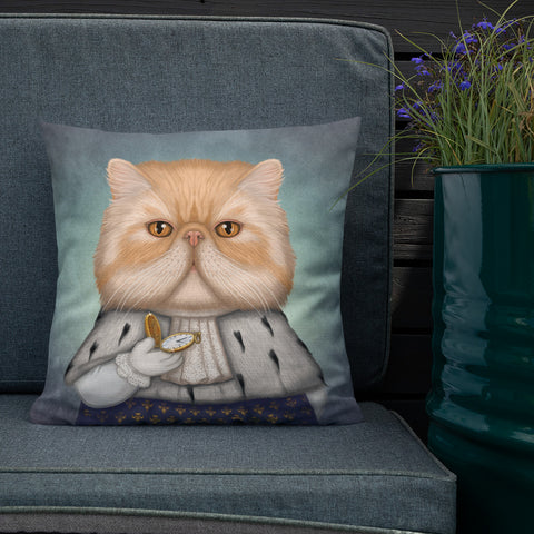 "Premium pillow ""Punctuality is the politeness of kings"" (Persian cat)"