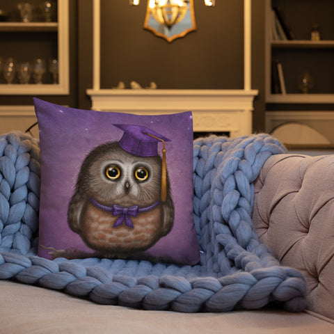 "Premium pillow ""Wonder is beginning of wisdom"" (Owl)"