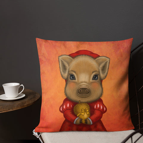 "Premium pillow ""A small gift is better than a great promise"" (Wild boar)"