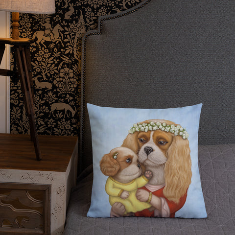 "Premium pillow ""Time brings everything to those who can wait for it"" (Cavalier King Charles Spaniels)"