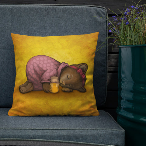 "Premium pillow ""Sleeping is sweeter than honey"" (Bear)"