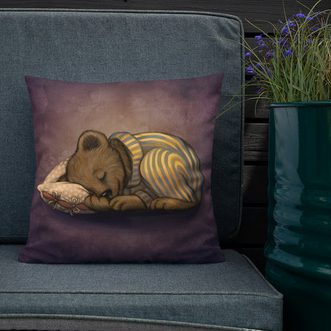 "Premium pillow ""Morning is wiser than evening"" (Bear)"