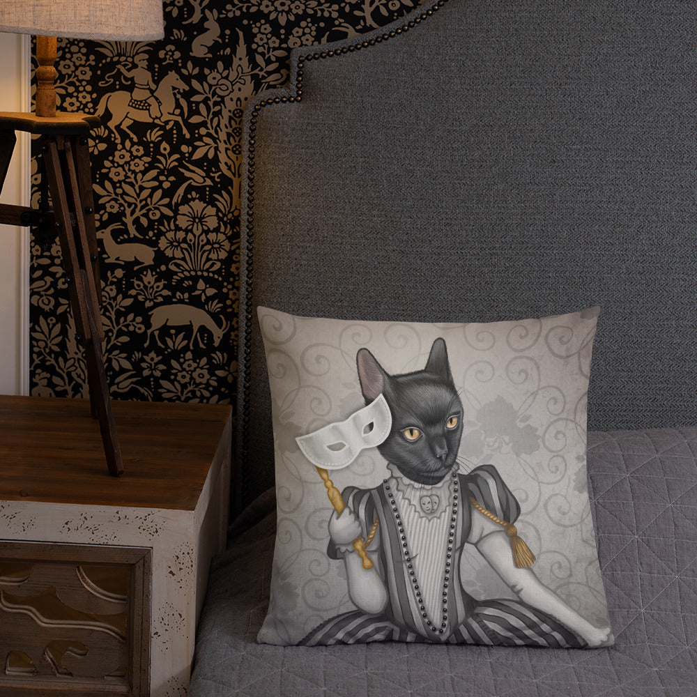 "Premium pillow ""The face is a mask, look behind it"" (Cat)"