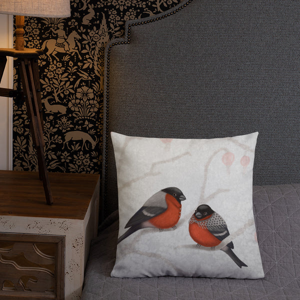 "Premium pillow ""A bush doesn't grow berries in winter"" (Eurasian bullfinches)"