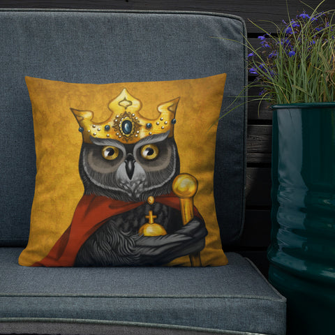"Premium pillow ""Own eye is king"" (Owl)"