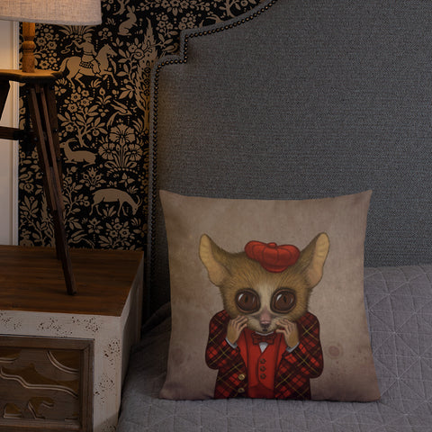 "Premium pillow ""Fear has big eyes"" (Mouse lemur)"