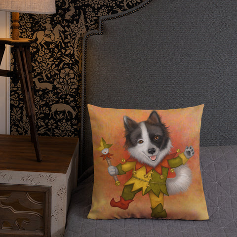 "Premium pillow ""Being happy is better than being king"" (Dog)"