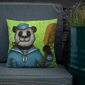 "Premium pillow ""Rowing slower will get you further"" (Giant panda)"