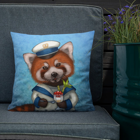 "Premium pillow ""Life is uncertain so eat your dessert first"" (Red panda)"