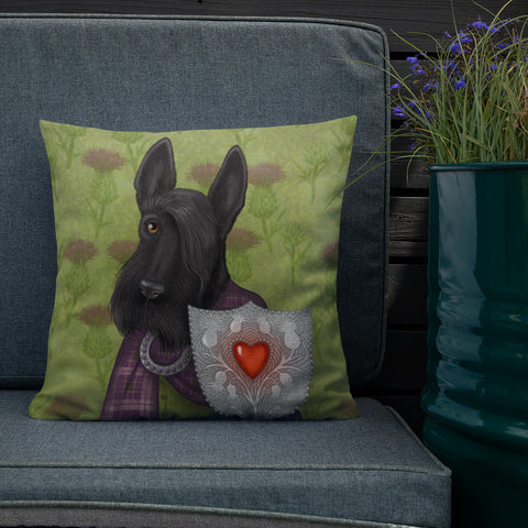 "Premium pillow ""Real power is in the heart"" (Scottish Terrier)"
