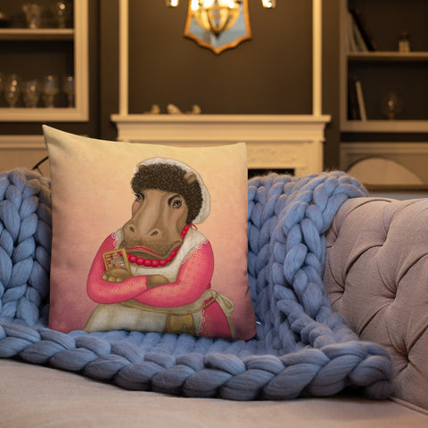 "Premium pillow ""A person without a smiling face must never open a shop"" (Hippopotamus)"
