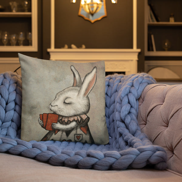 "Premium pillow ""Lucky at cards, unlucky in love"" (Hare)"