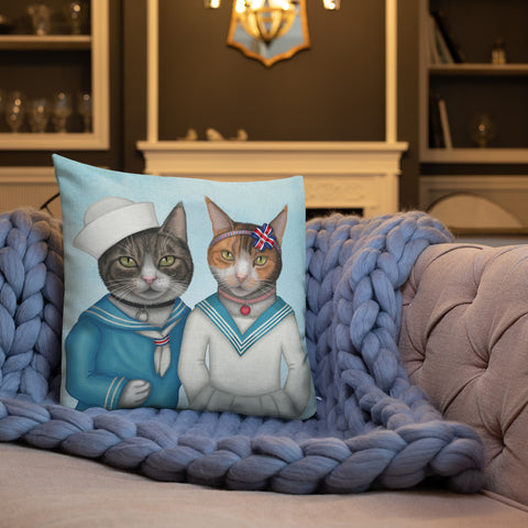 "Premium pillow ""Brothers and sisters are as close as hands and feet"" (Cats)"
