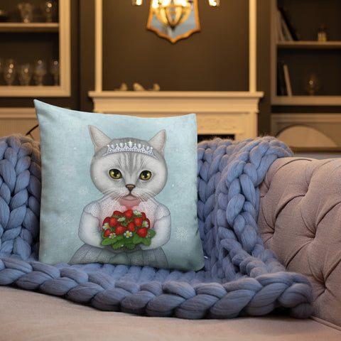 "Premium pillow ""Don't marry a girl who wants strawberries in January"" (British Shorthair)"
