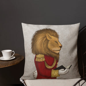 "Premium pillow ""The word is stronger than the army"" (Lion)"