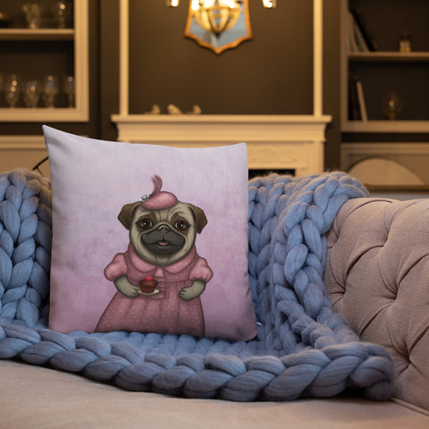 "Premium pillow ""A full stomach makes a happy heart"" (Pug)"