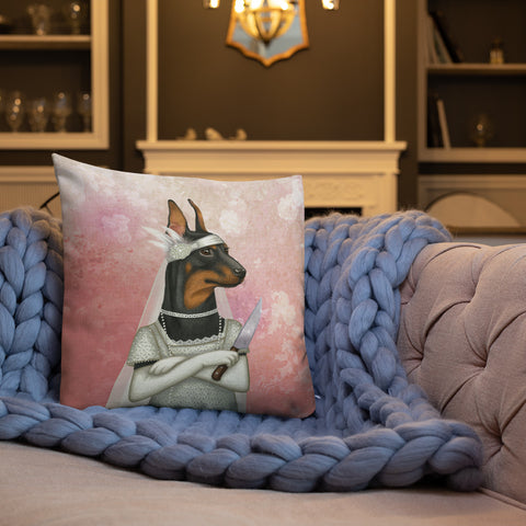 "Premium pillow ""The most dangerous food is a wedding cake"" (German Pinscher)"