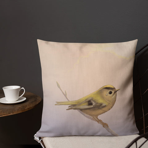 "Premium pillow ""A small tear relieves a great sorrow"" (Goldcrest)"