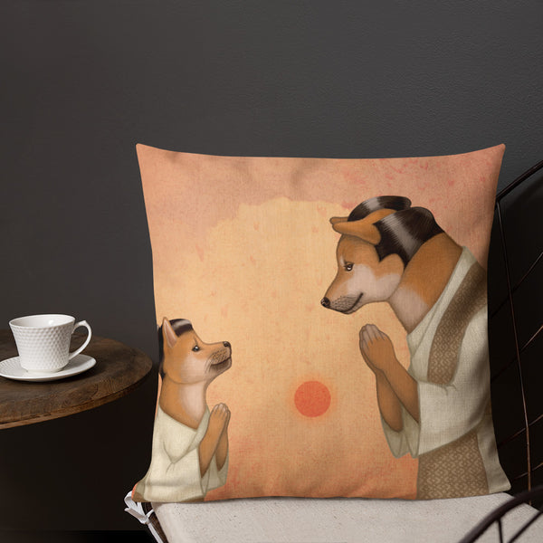 "Premium pillow ""To teach is also to learn"" (Shiba Inus)"