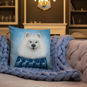 "Premium pillow ""No snowflake ever falls in the wrong place"" (Samoyed)"