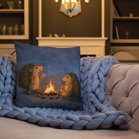 "Premium pillow ""Blacksmith's children are not afraid of sparks"" (Hedgehogs)"