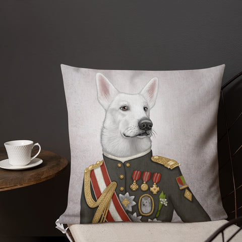 "Premium pillow ""A king's face should show grace"" (White Swiss Shepherd Dog)"