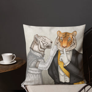 "Premium pillow ""Speech is silver, silence is golden"" (Tigers)"